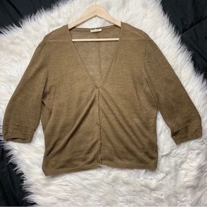 EILEEN FISHER olive linen button down cardigan